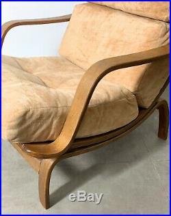 Vintage Mid Century Modern Bentwood Oak Lounge Chair Danish Scandinavian Style