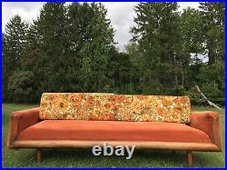 Vintage Mid Century Modern Groovy Floral Sofa Couch Orange Retro 70's Movie Prop