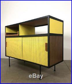 Vintage Mid Century Modern Iron Pegboard Credenza Buffet Vista Inco Eames Era