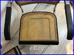 Vintage Mid Century Modern Marcel Breuer Chrome Cesca Arm Chairs 1970s