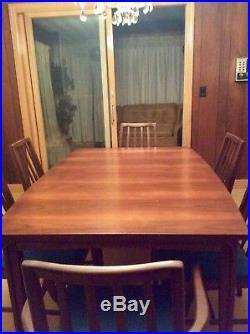 Vintage Mid-century Modern Dining Set Table + 3 leafs & 6 Chairs w Fabric EUC