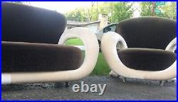 Vintage Modern Postmodern Curved Sculptural Sofa & Chair Weiman Preview Kagan
