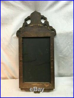 Vintage Old Etched Cut Glass Glass Mirror Wood Frame Elegant 1800s
