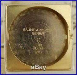 Vintage Original Baume Mercier Automatic Large 18k Solid Gold Square Gents Watch