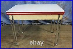 Vintage Porcelain Enamel Top Expandable Table with Metal Legs