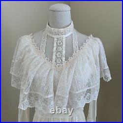 Vintage Rare 70s Gunne Sax Lace Tulle Edwardian Style Dress Ruffle Maxi Wedding