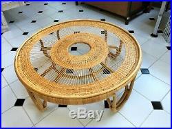 Vintage Rattan Bamboo Coffee Table Charlottenborg Sika Viggo Boesen Danish