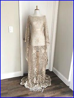 Vintage Sheer Beige Lace Maxi Dress CUT OUT Boho Hippy Crochet Wedding Gown L XL