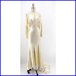 Vintage Silk Liquid Satin Edwardian Wedding Gown Lace Ruching Covered Buttons S