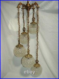 Vintage Swag Hanging Pendant Light Regency Chandelier Fixture Newly Rewired