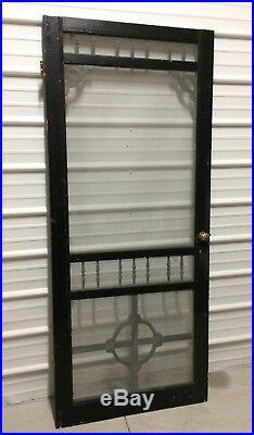 Vintage Wood Screen Door Antique Salvaged Farmhouse Victorian Goth Porch Prop