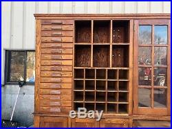Vintage oak school house cabinet AWESOME kitchen potential 90.5w x 87 h x 15.5