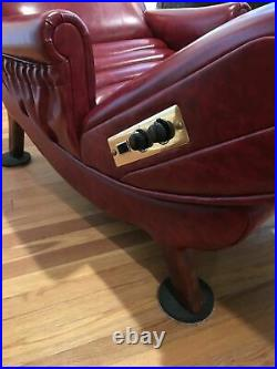 Vintage oxblood red contour lounge electric recliner