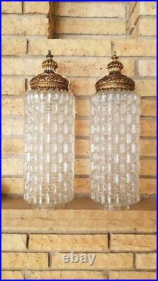 Vintage pair Glass Cylinder Pendant swag Lamp Light Shades Hollywood Regency MCM
