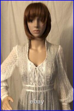 Vintge 1970s Gunne Sax Dress Maxi Prairie Boho Cottage Core Lace Up Bodice S