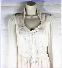 Vintge 1970s Gunne Sax High Neck Prairie Boho Cottage Core Lace Up Dress Size 9