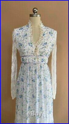 Vtg 70s Gunne Sax Style Blue & White Floral Lace Corset Dress Maxi Boho XS S