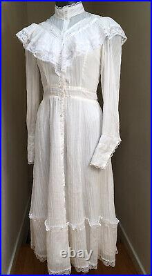 Vtg GUNNE SAX Dress WHITE 70s Prairie Lace Sheer Midi Wedding Size 7 BEAUTIFUL