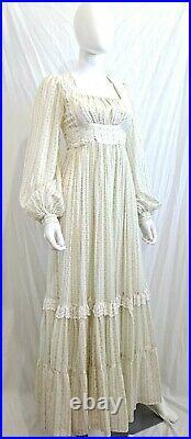 Vtg Gunne Sax Jessica McClintock Calico Floral Prairie Layered Maxi Dress
