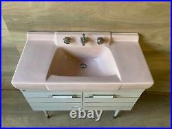 Vtg Mid Century Ceramic Pink Porcelain Vanity Bath Sink Retro 648-20E