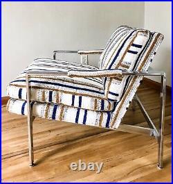 Vtg Milo Baughman Chair Thayer Coggin Chrome Metal Flat Bar Cube Mid Century 951